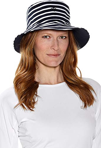 - Coolibar UPF 50+ Women's Reversible Pool Hat - Sun Protective (One Size- Navy/White Swim Stripe)
