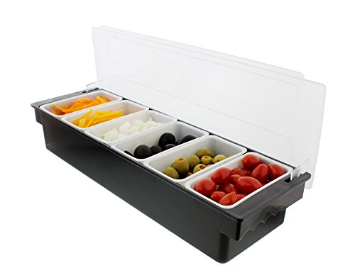 Bar Condiment Holder - G. Francis Ice Cooled Condiment Serving Container Chilled Garnish Tray Bar Caddy for Home Work or Restaurant