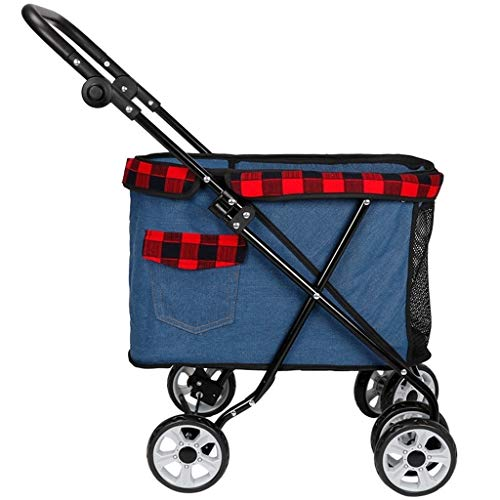 MZP Dog Stroller Dog Cat Pushchair Dog Pram, 600D PVC Cloth Suspension Foldable 360 Degree Rotatable 6 EVA Steel Wheels Maximum Weight 10Kg for Pushchair Excursion (Color : A) (Top 10 Best Pushchairs)