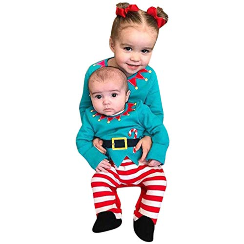 Baby Boy Girl Christmas Circus Clown Romper Jumpsuit Long Sleeve Striped Print Photography Props Xmas Party Costume (Green, 0-3 Months) – The Super Cheap