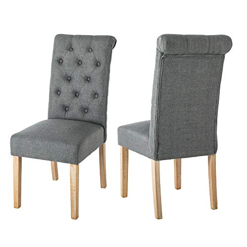 LSSBOUGHT Button-Tufted Classic Accent Dining Chairs with Solid Wood Legs, Set of 2 (Gray)