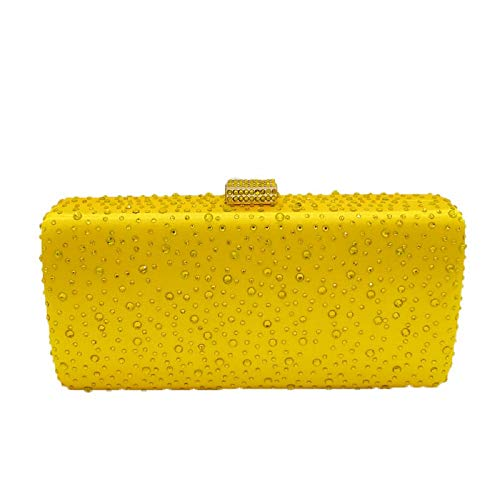 Elegant Women Yellow Crystal Clutch Evening Bags Wedding Cocktail Box Handbag Purse