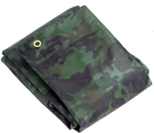 Heavy Duty Waterproof Camo Tarp - Reversible Camouflage/Green Vinyl Tarp - 10x12 with UV Protection for Outdoor Camping RV Truck and Trailers