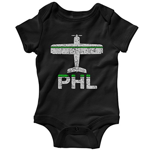 Smash Transit Baby Fly Philadelphia PHL Airport Creeper - Black, ()