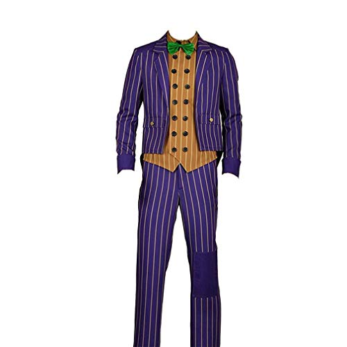 Yejue Arkham Knight Joker Cosplay Costume Scary Party (Large Male) Purple]()