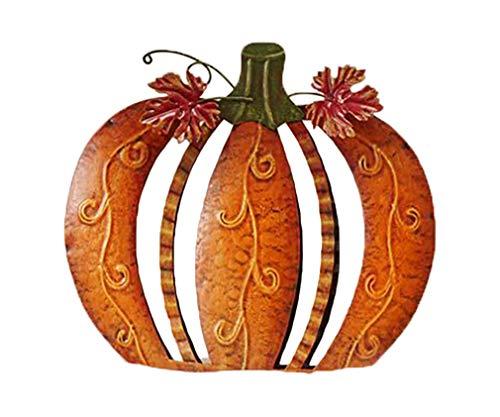 Gift Craft Orange Harvest Filigree Pumpkin 10 x 9 Inch Metal Tabletop Decoration