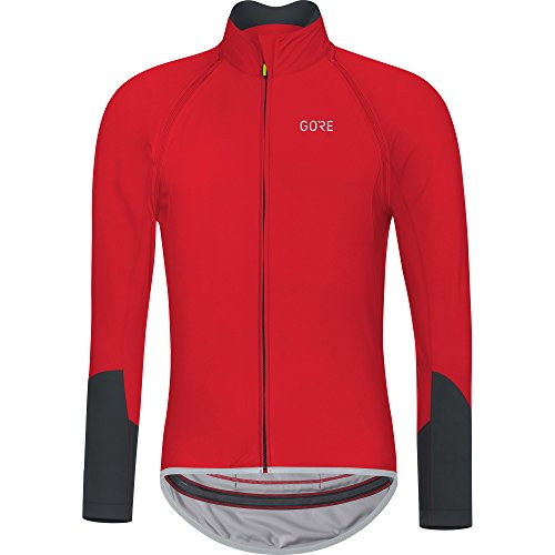 (GORE Wear Men's Windproof Long Sleeve Road Cycling Jersey, Removable Sleeves, GORE Wear C5 GORE Wear WINDSTOPPER Zip-Off Jersey, Size: XL, Color: Red/Black, 100222)