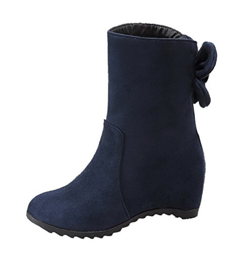AgooLar Damen Mattglasbirne Rund Zehe Mittler Absatz Ziehen auf Rein Stiefel Blau