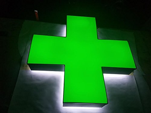 Green Medical Cross, Hybrid LED Lit with halo lighting, Outdoor/Indoor - weather resistant, Storefront Sign Installation template and Power supply included. (18 Inches) (Outdoor Installation Kit)