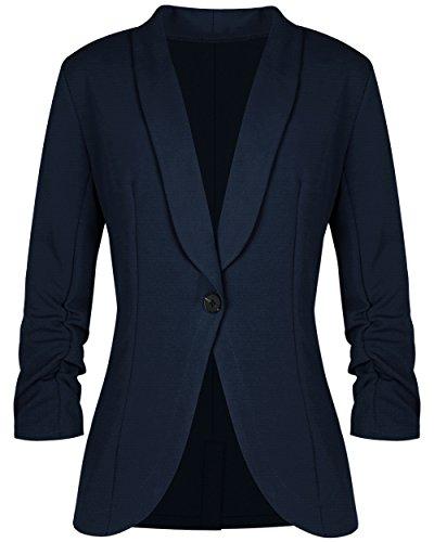 sanatty Women's 3/4 Ruched Sleeve Open Front Lightweight Work Office Blazer (Blue Blazer Black)
