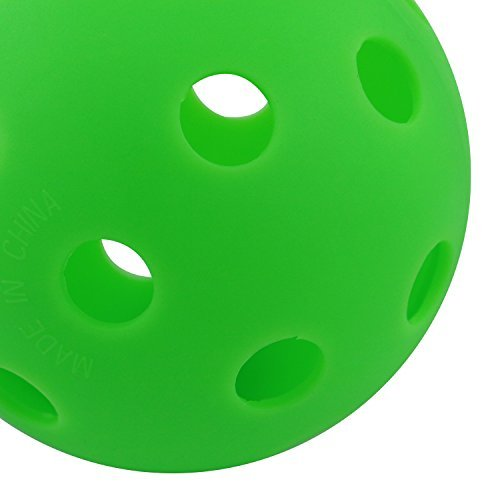 TONYRENA Indoor Pickleball Balls 12-pack Sports Performance Pickleballs Practice and Cracked Green Color