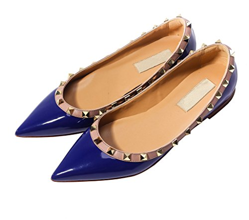 Katypeny Mujeres Rivet Stud Slip On Pointed Mocasines De Los Pies Pisos Bombas Zapatos 12 # Dark Blue Patent Pu Leather