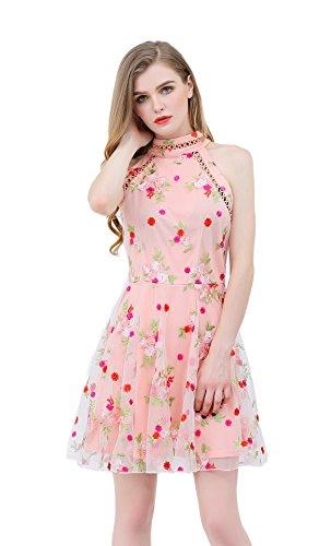 Halter Embroidered Lace Dress - UP Ultrapink Junior Womens Woven Halter Dress Crochet Trim Mock Neck Embroidered