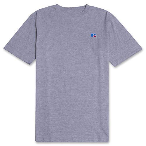 Russell Mens Big and Tall Cotton Jersey Tee Shirt Classic Logo Heathergrey 5X