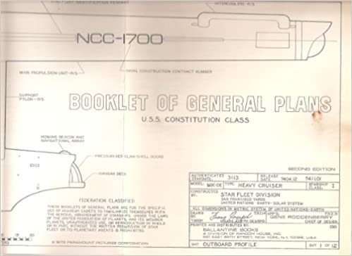 Booklet Of General Plans U.S.S. Constitution Class (Star Trek Blueprints):  Gene Roddenberry: Amazon.com: Books