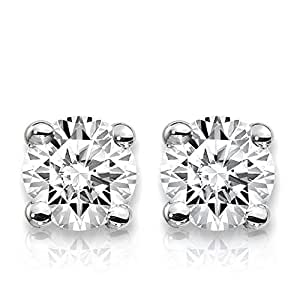 1 Carat Lab Grown Diamond Stud Earrings (Certified D-F Color, VS/SI Clarity) Set in 14k Gold (White-Gold)