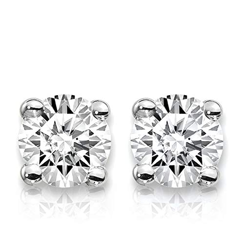 (3/4 Carat Lab Grown Diamond Stud Earrings (Certified D-F Color, VS/SI Clarity) Set in 14k Gold (White-Gold))