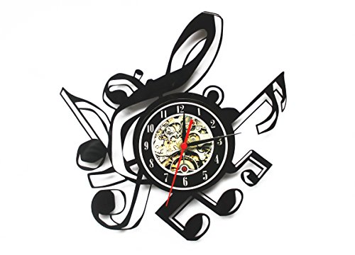 Crazypicky Notes Vinyl Record Clock, Music Vinyl Wall Clock,