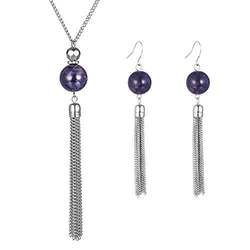 Pearl&Club Long Tassel Amethyst Jewelry Set - Beaded Dangle Necklace Earrings Fashion Jewelry with Silver Chain, Gifts for Women Girls (Amethyst Necklace+Earrings) ()