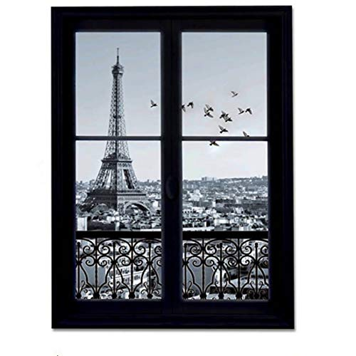 M Y Fly Young Wall Stickers 3D Scenery of Paris Waterproof Wallpaper Room Decals