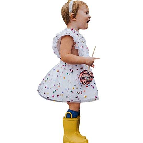 Creazrise Baby Ruffles Sleeve Tutu Dress,Toddler Summer Girls Short Sleeve Sequins Gauze Sundress White(1-3T) (White, 12M)