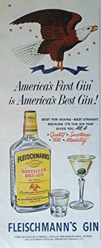 Fleischmann's dry Gin, 50's Print ad. Color Illustration (Eagle)Original Vintage 1953 Collier's Magazine Print Art