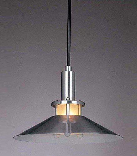 George Kovacs P9721-614 1 Light Pendant Satin Aluminum Metal w/Etched Glass Diffuser