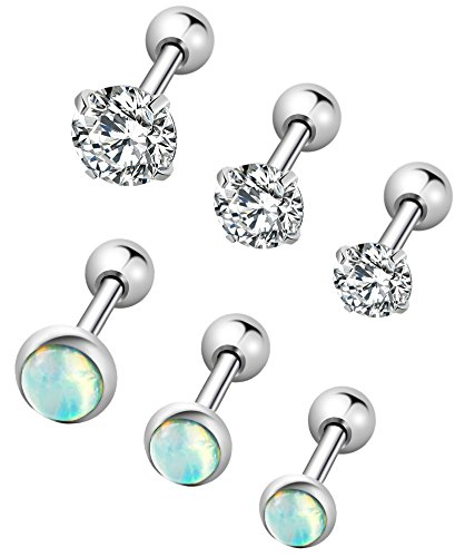 YOVORO 6Pcs 16G 316L Stainless Steel Stud Earrings for Women Cartiliage Earring Tragus Helix Piercing Created-Opal 3/4/5MM ()