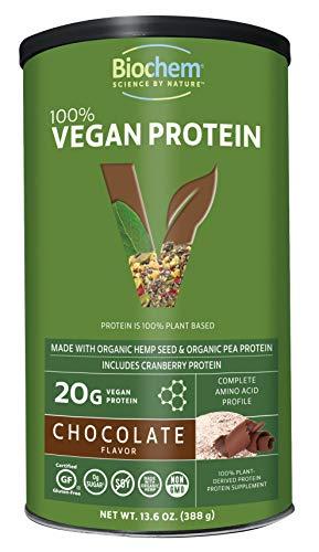 Biochem 100% Vegan Protein - Chocolate Flavor - 13.6 Ounce - Amino Acid - Easily Digestible - Amino Acid - Cranberry Protein - Hemp Seed - Pea Protein - Refreshing Taste - Non-GMO.
