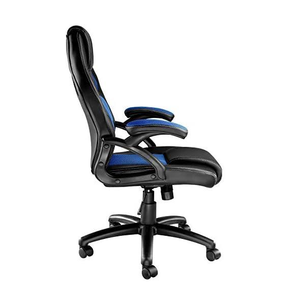 TecTake 800770 Chaise Fauteuil Siège de Bureau Hauteur Réglable Sportive Gamer – diverses Couleurs au Choix – (Noir-Bleu…