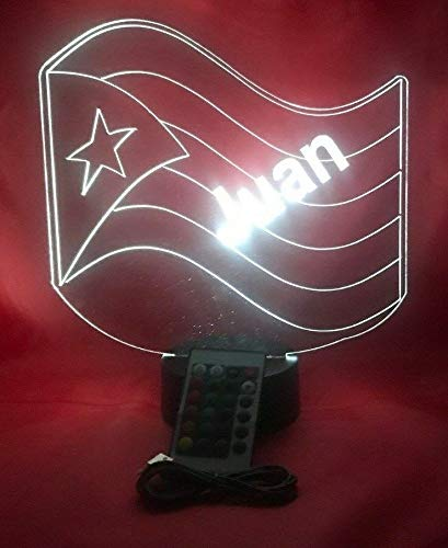 Puerto Rico Flag Light Up Lamp LED Personalized PR Flag Desk Light Lamp and Name Engraved Table Lamp, Our Newest Feature - It's Wow, with Remote, 16 Color Options, Dimmer, Free Engraved, Great Gift