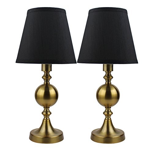 Black Gold Buffet Lamp - Urbanest Set of 2 Ellery Touch Accent Lamps, Antique Gold with Black Silk Shades