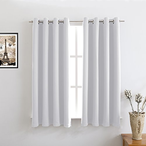 Greyish White Blackout Curtains Room Darkening/Light Blocking/Thermal Insulated Draperies With Solid Grommet for Bedroom/Living Room/Dining Room Window Treatments 2 Panels, 52 x 63 Inch By Floweroom