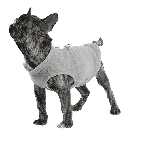 Pet Dogs Cloth Fleece Cold Weather Coats Solid Color Dogs Vest Jacket Dogs Harness For Small Medium Dogs Sweater (L, Grey) ()