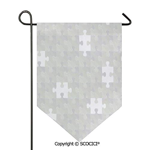 Easy Clean Durable Charming 28x40in Garden Flag Abstract Puzzle Patterns in Simple Light Background Shabby Mosaic Ornament Idea Kids Home Decor,Gray Double Sided Printed,Flag pole NOT included