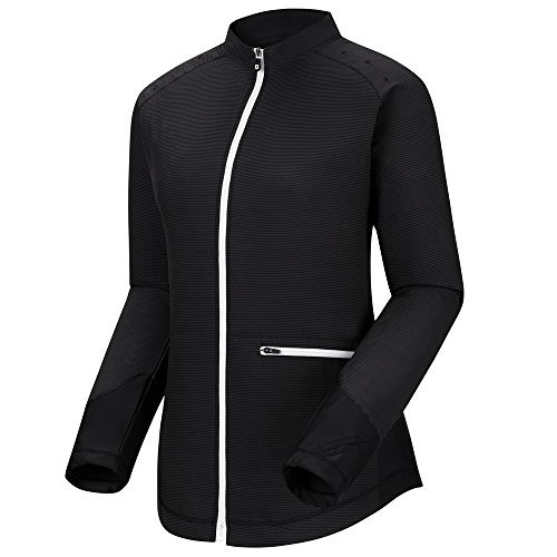 FootJoy Full Zip Woven Knit Panels Golf Pullover 2018 Women Black Medium [並行輸入品]   B07K19S2C1