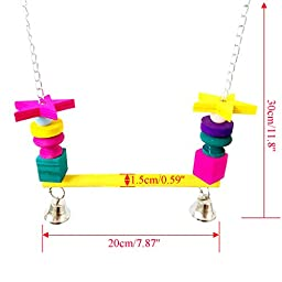 Bwogue Colorful Wooden Bird Swings Perches with Bells for African Greys Parakeet Budgie Cockatiel Parrots Cage Toy