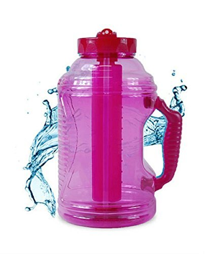 Cool Gear 75 oz EZ Freeze Water Bottle w/Handle Straw and Ice Pack (Pink)