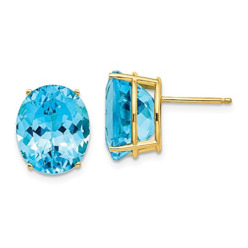0mm Oval Blue Topaz Post Stud Earrings Gemstone Fine Jewelry Gifts For Women For Her ()