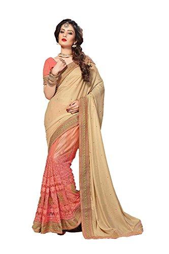 PCC Indian Women Saree Designer Party wear Wedding Cream & Peach Colo