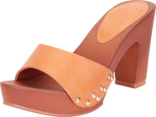 Band High Heels - Cambridge Select Women's Retro Open Toe Single Band Studded Clog Slip-On Chunky Platform High Heel Sandal,8.5 B(M) US,Brown PU