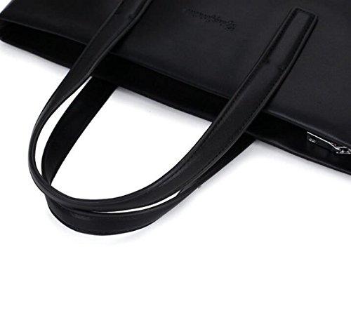 Hombres Bolsa De Negocios Maletín Ordenador Bolsa Messenger Bag Bolsa De Hombro Casual Moda Simple Black