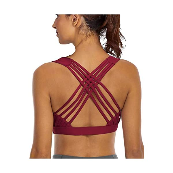 YIANNA Sports Bras for Women – Strappy Sports Bra Padded for Yoga, Running,...
