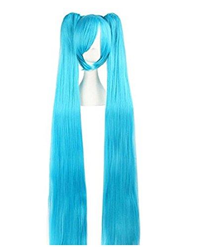 Blue Green Miku Wig Long Bunches Straight Anime Cosplay Girls Vocaloid Hair Halloween Accessories Prop Womens 120cm