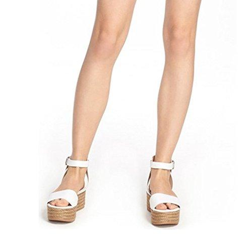 Fsj Donne Casuali Espadrillas Cunei Scarpe Aperte Sandali Toe Slingback Con Dimensioni Piattaforma 4-15 Noi Bianco