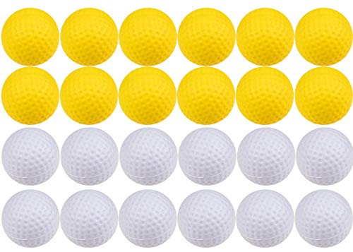 Juvale 24-Pack Foam Practice Golf Balls for Indoor & Outdoor Use, Yellow & White, 1.6 ()