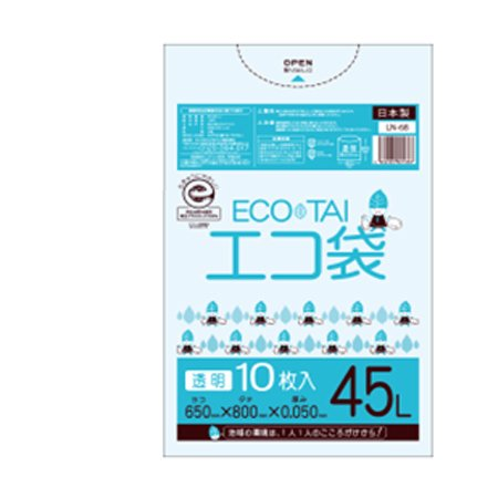 サンキョウプラテック エコ袋 45L 0.050厚 透明 10枚入×40冊 LN-68 B077SLNVHQ 厚さ0.045mm|透明 透明 厚さ0.045mm
