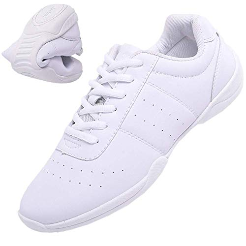 Mfreely Cheer Shoes for Women White Cheerleading Athletic Dance Shoes Flats Tennis Walking Sneakers for Girls White 8 B (M) US