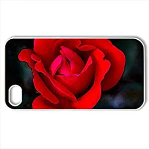 beautiful red rose - Case Cover for iPhone 4 and 4s (Flowers Series, Watercolor style, White)