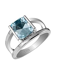 1.70ctw,Genuine Blue-Topaz 6x8mm Octagon & Solid .925 Sterling Silver Rings
